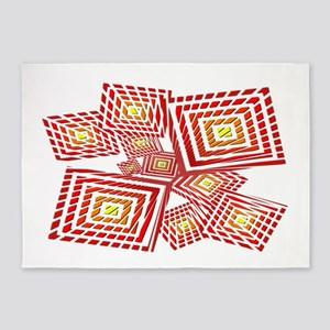 Atomic Red Prizm 5'x7'Area Rug