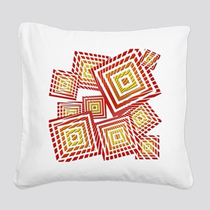 Atomic Red Prizm Square Canvas Pillow