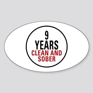 9 Years Clean & Sober Oval Sticker
