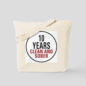 10 Years Clean & Sober Tote Bag