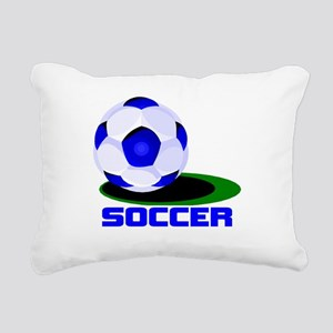 SOCCER BALL BLUE WORDS2 black Rectangular Canv