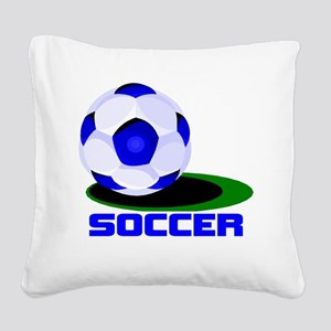 SOCCER BALL BLUE WORDS2 black Square Canvas Pi