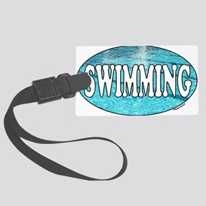 SWIMMING water Large Luggage Tag