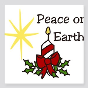 """Peace On Earth Square Car Magnet 3"""" x 3"""""""
