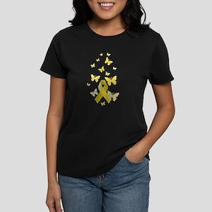 Yellow Awareness Ribbon Women's Dark T-Shirt