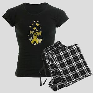 Yellow Awareness Ribbon Women's Dark Pajamas