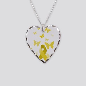 Yellow Awareness Ribbon Necklace Heart Charm
