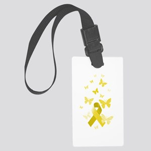 Yellow Awareness Ribbon Large Luggage Tag