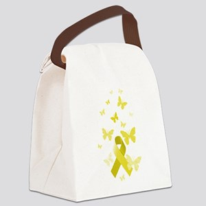 Yellow Awareness Ribbon Canvas Lunch Bag
