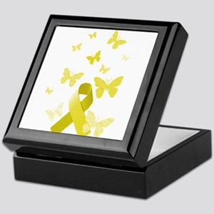 Yellow Awareness Ribbon Keepsake Box