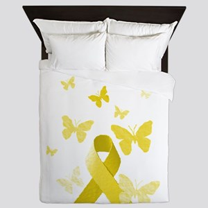 Yellow Awareness Ribbon Queen Duvet