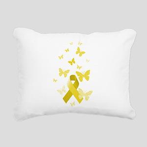 Yellow Awareness Ribbon Rectangular Canvas Pillow