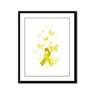 Yellow Awareness Ribbon Framed Panel Print