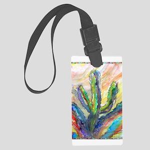 Cactus, southwest art! Large Luggage Tag