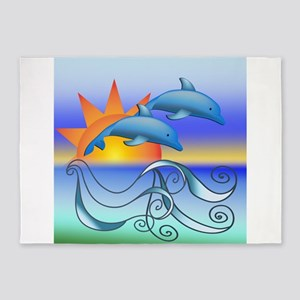Dolphins in the Sun 5'x7'Area Rug