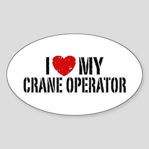 I Love My Crane Operator Sticker (Oval)