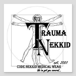 """Trauma Nekkid Logo Square Car Magnet 3"""" x 3"""""""