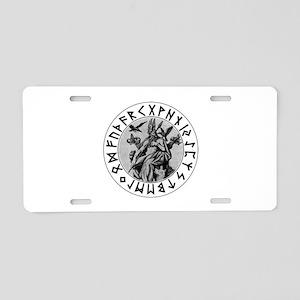 Odin Rune Shield Blk on Wht Aluminum License P