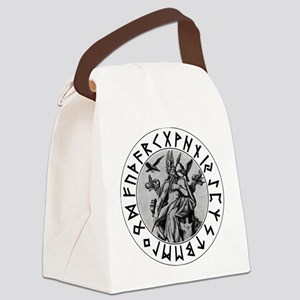 Odin Rune Shield Blk on Wht Canvas Lunch Bag