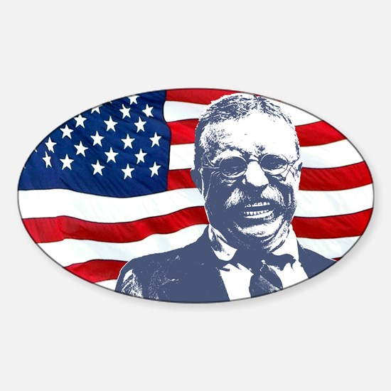 Roosevelt and Flag Rectangle Decal