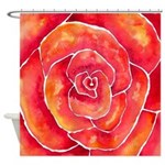 Red-Orange Rose Watercolor Shower Curtain