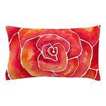 Red-Orange Rose Watercolor Pillow Case