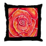 Red-Orange Rose Watercolor Throw Pillow