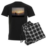 Playing Golf At Sunset Men's Dark Pajamas