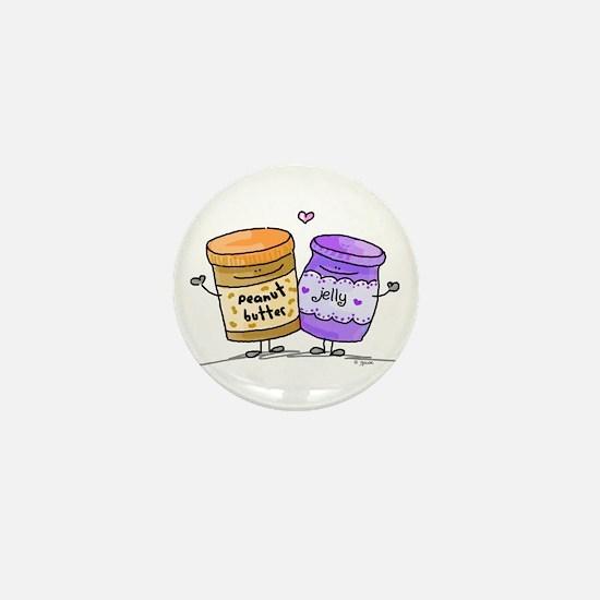 pb loves grape jelly Mini Button