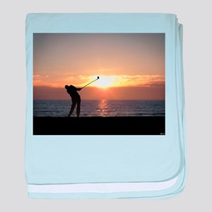 Playing Golf At Sunset baby blanket
