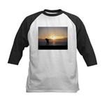 Playing Golf At Sunset Kids Baseball Jersey
