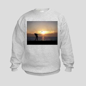 Playing Golf At Sunset Kids Sweatshirt