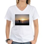 Playing Golf At Sunset Women's V-Neck T-Shirt