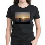Playing Golf At Sunset Women's Dark T-Shirt