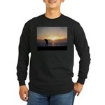 Playing Golf At Sunset Long Sleeve Dark T-Shirt