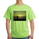 Playing Golf At Sunset Green T-Shirt