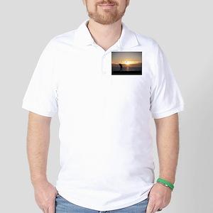 Playing Golf At Sunset Golf Shirt