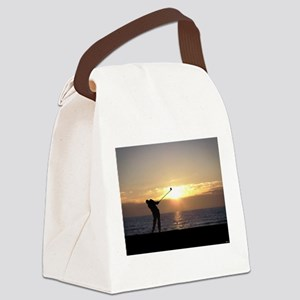 Playing Golf At Sunset Canvas Lunch Bag