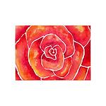 Red-Orange Rose Watercolor 5'x7'Area Rug