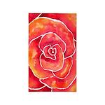 Red-Orange Rose Watercolor 3'x5' Area Rug