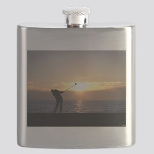 Playing Golf At Sunset Flask