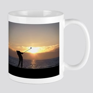 Playing Golf At Sunset Mug
