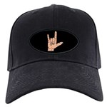 Sign Language I Love You Hand Black Cap