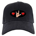 ASL I Love You (ILY) Hand and Hearts Black Cap