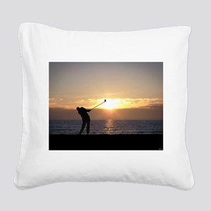 Playing Golf At Sunset Square Canvas Pillow