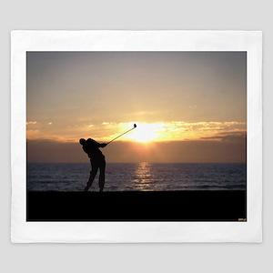 Playing Golf At Sunset King Duvet