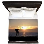 Playing Golf At Sunset King Duvet