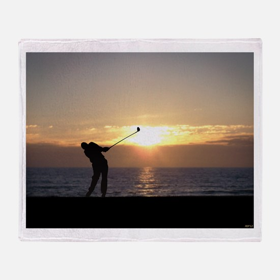 Playing Golf At Sunset Throw Blanket