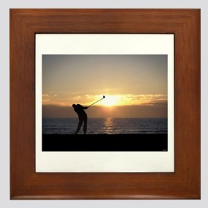 Playing Golf At Sunset Framed Tile
