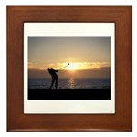 Playing Golf At Sunset Framed Tile
